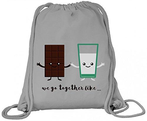 ShirtStreet Geburtstags,- Valentinstagsgeschenk Paar Premium Bio Baumwoll Turnbeutel Rucksack Stanley Stella Chocolate + Milk, Größe: onesize,Heather Grey