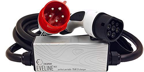 Eveline Max Smart - Cargador portátil tipo 2 - CEE de 5 pines (RCD FI A-EV) | 16-32 A | 3 fases | 5-8 M + incluye bolsa compacta (22 kW 32 A 5 m)