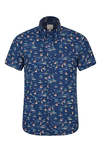 Mountain Warehouse Tropical Camisa Envuelta Corta Impresa Tropical de Mens - 100% Camisa del algodón, Camisa del Verano de Breathable, trabaje a máquina la Camiseta Lava Índigo XS