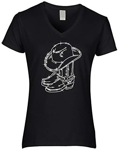 BlingelingShirts Damen Fun Shirt Strass Cowboystiefel mit Cowboyhut kristall Line Dance, schwarz, Gr. L