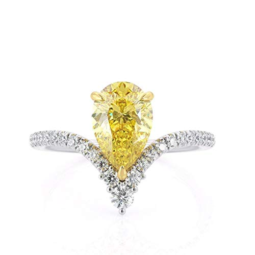 KEYZAR Fancy Canary Yellow 1.5ct Pear Shaped Moissanite Engagement Ring, Curved Chevron, Minimalist, White Solid Gold, 0.24 ctw Diamonds Pave, Handcrafted