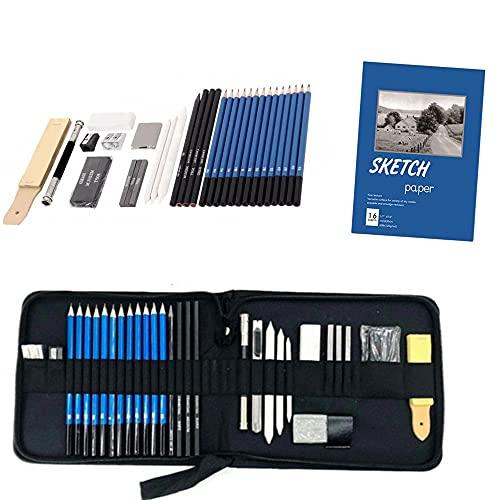 Juego de lápices de dibujo Sanmonk, 35 unidades, lápices para esbozar y dibujar, con lápices de carbón de grafito, herramientas y bolsa, adecuado para profesores o principiantes