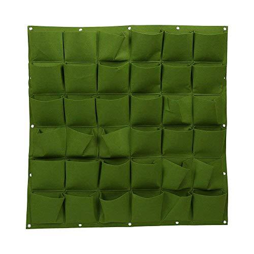 36 poches Sacs à planter Tenture murale Jardinerie Jardinière Extérieur Intérieur Vert Verdissement Cultiver Sacs (Vert)
