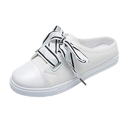 AIni Damen Schuhe Sommer Beiläufiges 2019 Neuer Heißer Sport Frühlings Beiläufige Flache Segeltuch Schuhe Strand Partyschuhe Freizeitschuhe(39,Weiß)