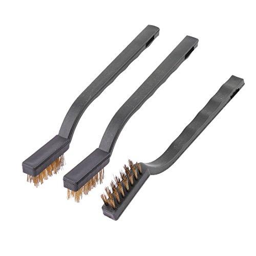 sourcingmap Poignée Plastique ménage Brosse nettoyage à poils fil métallique noir Outil 3 pcs