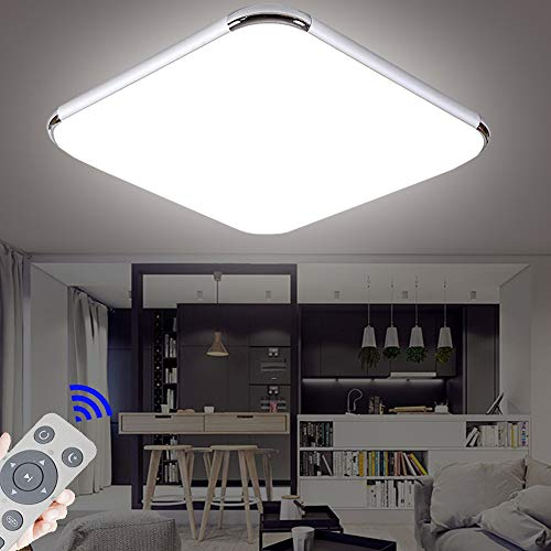 Regulable LED 48W lámpara de techo moderna LED luz de techo Cuadrado delgada Plata para Dormitorio Cocina Sala de estar Comedor Balcón Pasillo [Clase de eficiencia energética A++]