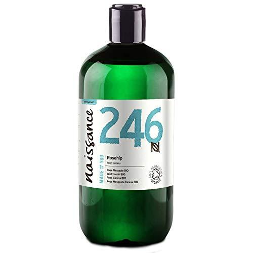 Naissance Aceite Vegetal de Rosa Mosqueta Canina BIO n. º 246 – 500ml - Puro, natural, vegano, certificado ecológico, sin hexano y no OGM - Hidrata y nutre todo tipo de pieles, el cabello y las uñas.