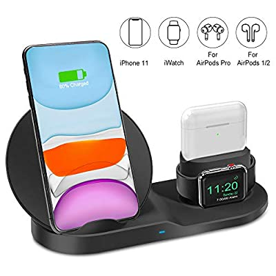 Ebeet Wireless Charger Black, 3 in 1 Wireless Charger
