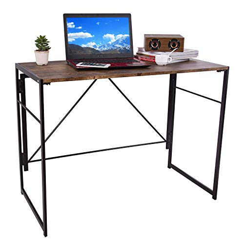 iPEGTOP Foldable Writing Desk 394quot Home Office Folding Study Computer Desks Easy Assembly Working Desktop for Dorm College Notebook Work No Assembly amp Space Saving Design