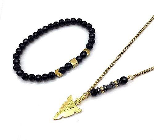 FACAIBA Collar de joyería Masculina 2Pcs / Sets Collar de Pulsera con Cuentas para Hombre Regalo de joyería
