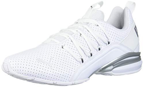 PUMA Men's Axelion Sneaker, White Silver, 10 M US