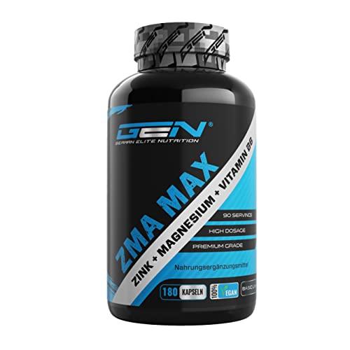 ZMA MAX - 180 Cápsulas - Dosis extra altas - Zinc + Magnesio + Vitamina B6 - Premium: Con 3 compuestos de magnesio - Vegano