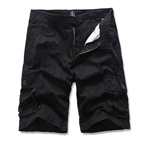 Cargo Hose Männer Kurz Shorts GreatestPAK Herren Einfarbig Cargo-Shorts Knopf Pocket Arbeitshorts Mode,Schwarz,EU:M(Tag:30)