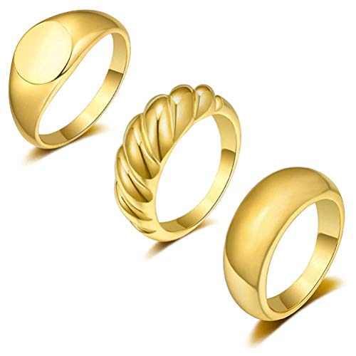 Dome Chunky - 3 anillos chapados en oro de 18 quilates, para mujeres y niñas, redondos, firmas, anillos trenzados