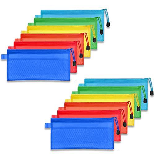 gotyou 12 Stücke A6 Datei Taschen,Aktenhalter Tasche Netztasche,Reißverschlusstasche Federbeutel,Wasserdichte Reisezubehör Aufbewahrungsbeutel,Familie Bürobedarf für Rechnungen Tasche,6 Farben