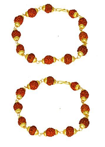 Shail Sagar RUDRAKSH - Pulsera de 5 caras con cuentas coronadas