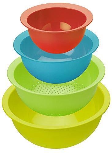 Rotho Caruba Set 3 Schüsseln und 1 Sieb, Kunststoff (BPA-frei), farbig sortiert, Volumen: 1 Liter / 2 Liter / 4.8 Liter und ein Sieb
