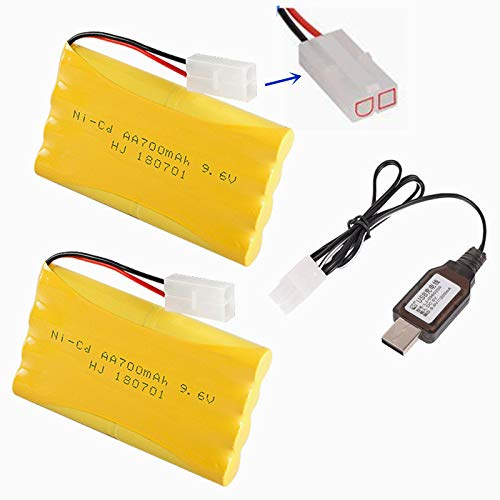 9.6V 700mAh Ni-Cd AA Battery Pack Rechargeable with Standard Tamiya Connector for Remote Control Electric Car Toys Truck Tank Nicd 9.6V Volt Battery