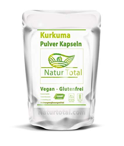 Kurkuma Pulver Kapseln Natur Total - 250 Curcuma Kapseln - Vegan- Glutenfrei