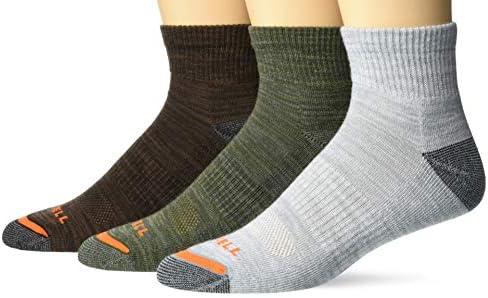 Merrell mens Cushioned Hiker Quarter 3 Pair Casual Sock Dark Brown Dark Grey Light Grey Olive product image