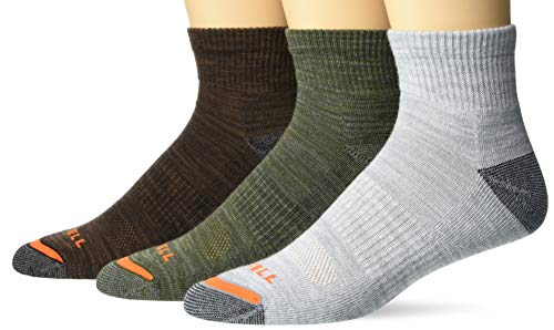 Merrell Men's Cushioned Hiker Quarter Socks 3 Pair, Dark Brown, Dark Grey/Light Grey, Olive Green, L/XL