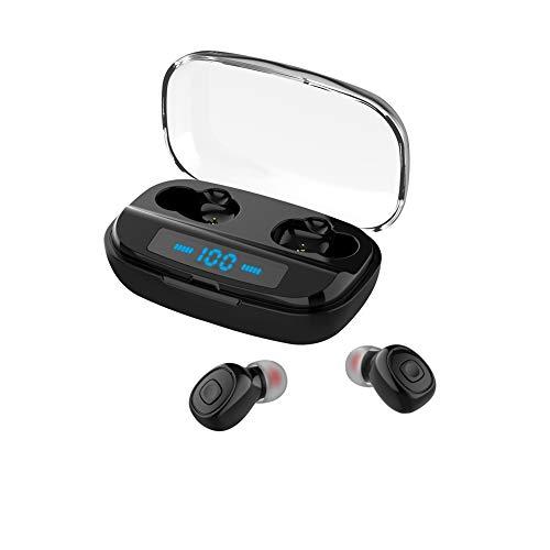 Spachy Auriculares inalámbricos Bluetooth, Auriculares estéreo TWS con Estuche de Carga de Pantalla LCD, Auriculares Impermeables Mini Ear Buds para Hacer Ejercicio Deportivo