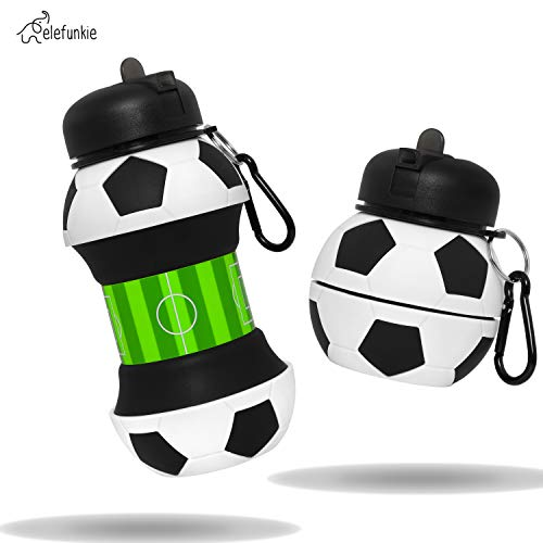 Kids Water Bottle - Football Gifts For Boys – Great for School, Practice and Birthday Gift - BPA FREE, Collapsible, Drop Resistant- Last Boys Water Bottle you'll Need- 550ml