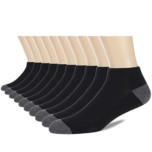 COOVAN 10 Pairs Mens Cushion Ankle Socks Men 10 Pack, 10 Pack-black, Size 10.0