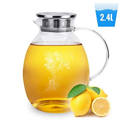 Florina Teekanne Glas Kaffeekanne Teekessel Glaskanne mit Deckel Spülmaschinenfest Mikrowellengeeignet Kühlschrank Durchsichtig Modern Krug GRAND 2,4 l