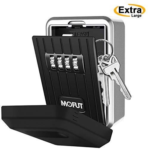MoFut Schlüsselsafe mit 4-Stelliger Zahlencode, Schlüsseltresor Wandmontage für Ersatzschlüssel, Zinklegierung Wetterfest Schlüsselbox