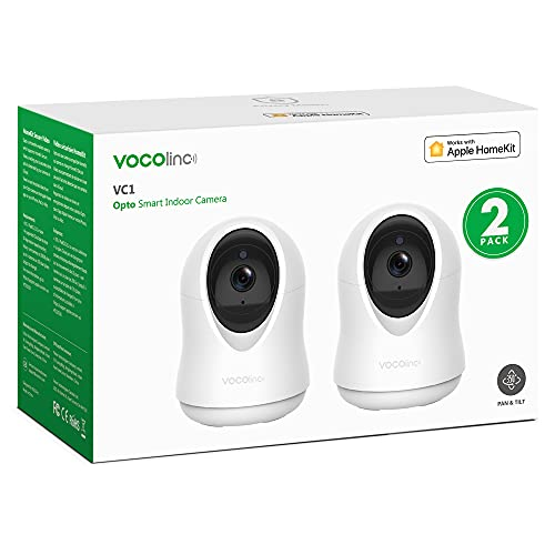 VOCOlinc HomeKit Solamente 1080P Cámara IP Vigilancia WiFi Interior con Movimiento Visión Nocturna Audio de 2 Vias Monitor Bebé/Anciano/Mascota con Rotación de 355 ° / 93 ° VC1 Opto (2 Pack)