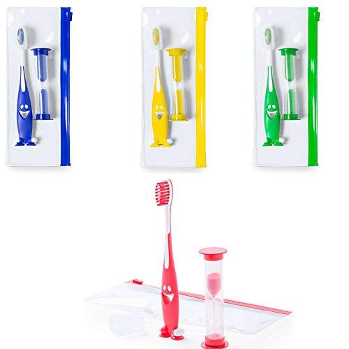 Lote de 20 set cepillos de dientes infantil, con reloj de arena y neceser. Regalos para cumpleaños infantiles, colegios, fiestas de niños.