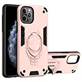 vingarshern Funda para iPhone 11 Pro MAX Carcasa Diseño 2 en 1,TPU Cover+Hard PC Caja,Anti-Choque Estuches iPhone 11 Pro MAX Fund con Soporte Móvil(Oro Rosa)