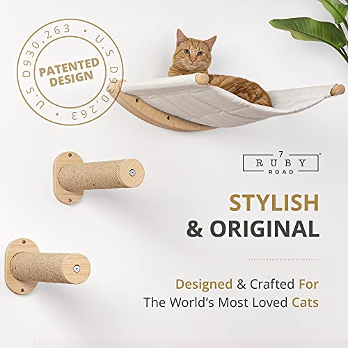 Wall Mounted Cat Hammock with Two Steps - Modern Beds and Perches for Cats - Premium Kitty Furniture for Sleeping, Playing, Climbing, and Lounging - Cat Wall Shelves