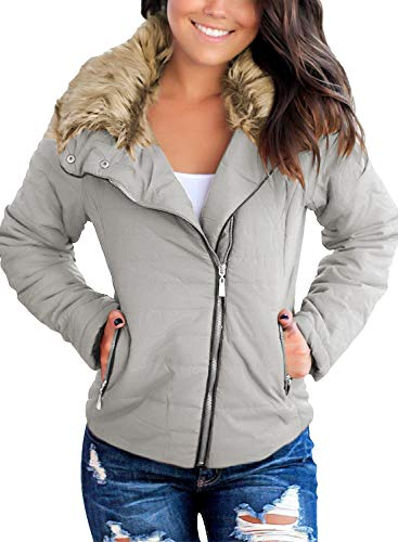 Vetinee Women Casual Faux Fur Lapel Zip Pockets Quilted Parka Jacket Puffer Coat Light Grey X-Large (Fits US 16-US 18)
