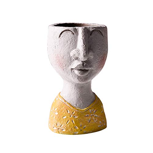 SH Resin Flower Pot Vase, Decorative Modern Head Planter Face Vase for Indoor Outdoor, Statue Plant Pot for Home Decoration