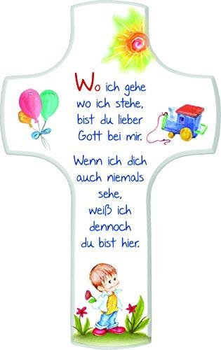 MaMeMi Kinderkreuz 'Wo Ich Gehe'; Junge, 18x11 cm, weiß Lackiert
