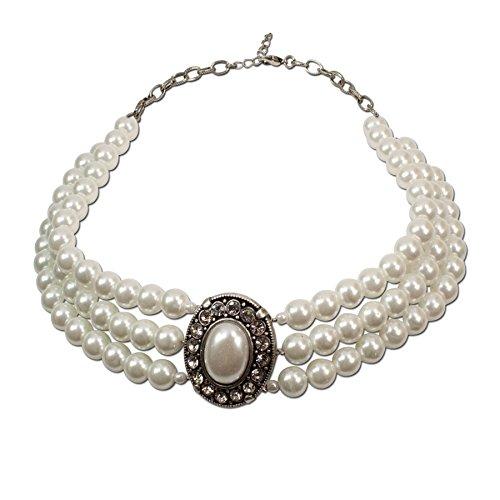 Alpenflüstern Perlen-Collier Sissi - Trachtenkette Damen-Trachtenschmuck Dirndlkette Creme-weiß DHK087