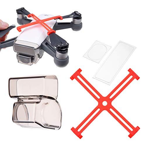 CamKix Schutz-Set Kompatibel mit DJI Spark: Propeller-Fixatoren, 2in1 Gimbalsperre und Blende, Kamera-/Sensor-Protektoren - Hält Propeller und Gimbaleinheit in Einer festen Position, schützt