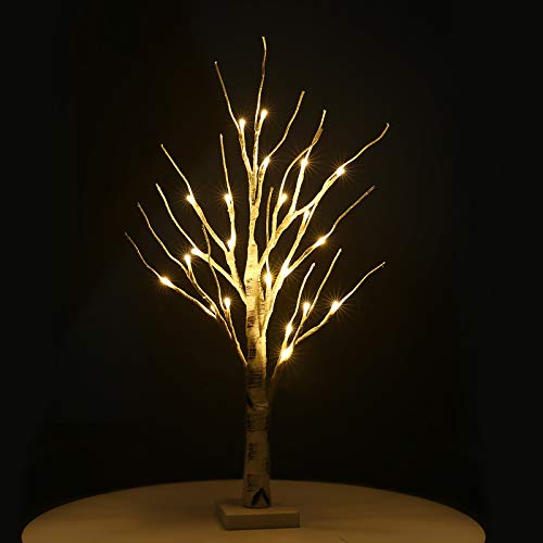 23'Tabletop Bonsai Tree Light,Lighted Artificial Twig Birch Tree with Fairy Lights,with 24 Warm White LED,Battery/USB Operated,for Bedroom Desktop Christmas Party Indoor Wedding Decoration Lights (A)