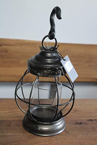 Laterne/Windlicht aus Metall mit Glaseinsatz für Kerze, incl. Haken z. Aufhängen, H 35 cm, dunkel-metallic
