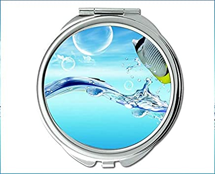 Mirror,Travel Mirror,Cuttlefish theme of Pocket Mirror,portable mirror 1 X 2X Magnifying