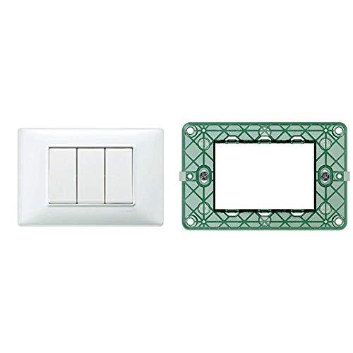 Vimar Placca 3 m, Bianco & 0R14613 Plana Supporto per placche elettriche da Montare su scatole rettangolari 3 Moduli, con Viti