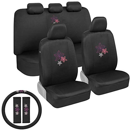 BDK Hawaiian Flowers Car Seat Covers Full Set with Steering Wheel Cover and Seat Belt Pads – Front and Rear Covers with Matching Embroidered Accessories, Universal Fit for Cars Trucks Vans SUVs