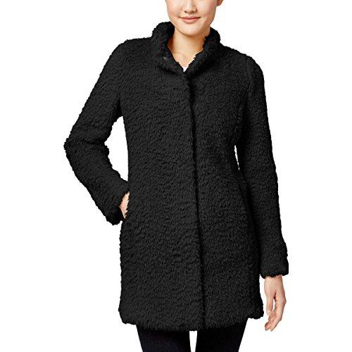 Kenneth Cole New York Womens Petites Faux Fur Long Sleeve Coat Black PXL