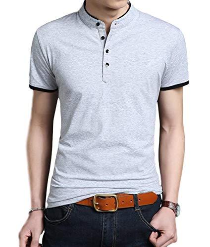 [ベンケ] BEN070 GYM ポロシャツ Tシャツ メンズ 無地 半袖 丸首 カットソー オシャレ カジュアル 春 夏 トップス 綿 大きいサイズ きれいめ シンプル 丸襟 すっきり 通勤 通学 ボタン クルーネック かっこいい tシャツ ヘンリーネック 白 大きい tシャツ おおきいサイズ 黒 半袖tシャツ シャツ メンズ大きいサイズ インナーtシャツ