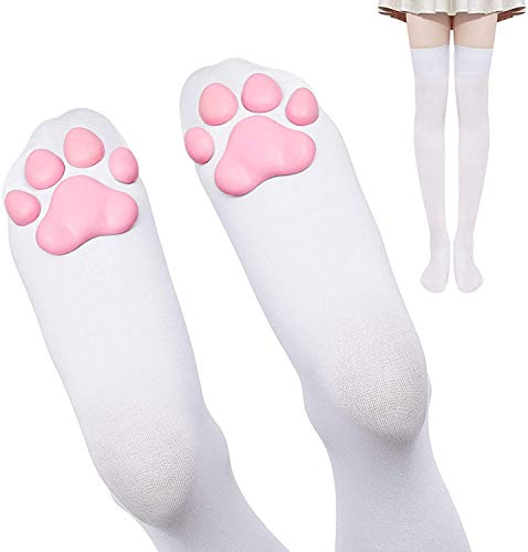 DoreenAbe Thigh High Socks Cute Pink Cat Paw Pad Socks Overknee Warm Socks for Women Kitten Stocking (White-pink)