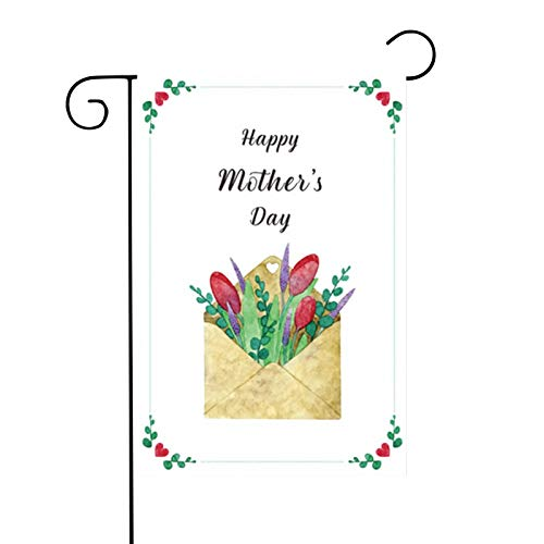 Double Sided Colorful Spring Flower Floral Butterfyl Happy Mother's Day Polyester Garden Flag Banner for Outdoor Home Garden Flower Pot Decor