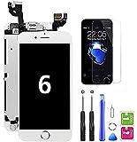 Hoonyer Pantalla para iPhone 6 Táctil LCD Pantalla Digitalizadora con Herramientas de Reparación (con Botón de Inicio, Cámara Frontal, Sensor de Proximidad, Altavoz) Blanco