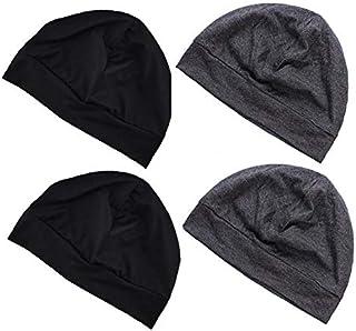 Valleycomfy 4PCS Skull Cap Helmet Liner Running Beanie for Men & Women Multifunctional Headwear Bike Hard Hat Liner Black,...